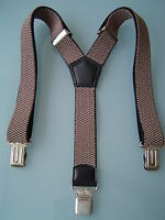 MENS MEN BRACES SUSPENDERS BEIGE CAMEL 40mm!!! HEAVY DUTY BIKERS TROUSERS BRACES