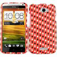 For AT&T HTC One X Hard Case Black White Polka Dots on Red Faceplate Phone Cover