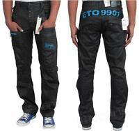 NEW MENS ETO EM258 DESIGNER BLACK STRAIGHT LEG JEANS. BNWT *REDUCED BARGAIN*