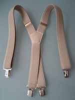 LADIES MENS BRACES SUSPENDERS CREME BEIGE 30mm STRONG STYLISH SUIT OFFICE BRACES