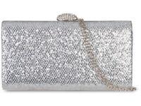 Silver Glitter Box Clutch Bag Diamante Evening Wedding Bridal Handbag K20801