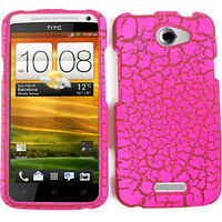 For HTC One X AT&T Faceplate Protector Case Pink Cracked Egg Snap on Cover
