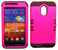 Brown Hybrid Cover + Hot Pink Hard Case for Samsung Galaxy S2 II Epic Touch D710