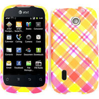 Yellow and Pink Plaid Hard Case Cover Faceplate for Huawei Fusion U8652 AT&T