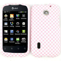 Pink and White Checkers Snap On Hard Cover Case for Huawei Fusion U8652 AT&T