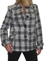 NEW (5076) Wool Coat Jacket Tweed glittler  Black White Size 8 10