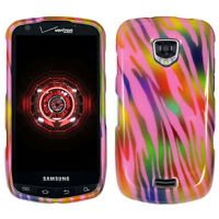 For Samsung Droid Charge i510 Case Pink Rainbow Zebra Skin Faceplate Hard Cover
