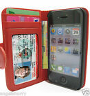 Red Apple iPhone 4 4G 4S 4GS Wallet Credit Card Flip Leather Pouch Case Cover