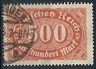 1922-23 GERMANIA USATO REICH WEIMAR 500 M F.2 - DE016