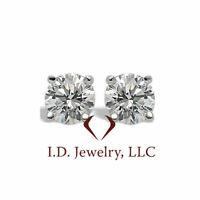 2.01CT Round Cut Diamond Stud Earrings E SI2  14K #05944