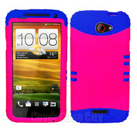 Royal Blue Cover with Hot Pink Hard Hybrid Case for HTC One X S720e Accessory