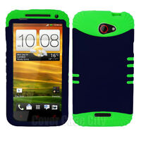 Navy Blue Hard Cover with Green Rubber Hybrid Case for HTC One X S720e Protector