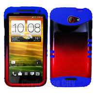 For HTC One X S720e Royal Blue Skin Hybrid Case with Red Black Tones Hard Cover