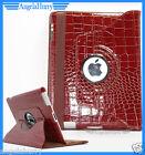 Brown The New iPad 4 4G iPad 3 iPad 2 Smart Crocodile Leather 360° Rotate Case