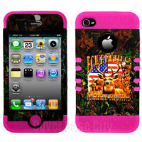For Apple iPhone 4 4S Hybrid Pink Impact Cover Case Bow Hunting Deer Tradition