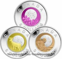 Canada 2011 2012 Full Moons 3 Coin $5 Silver w/ Niobium Proof Set BiMetallic