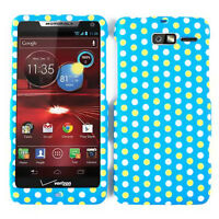 For Motorola Droid RAZR M XT907 Hard Case Polka Dots Light Blue Protector Cover
