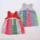 Japanese Brand Champ Girls Grey/Red Casual Patchwork Dress/Top Size 2/3/4/5/6/7
