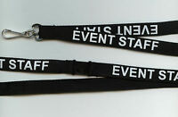 SAlLE! 1 Black EVENT STAFF Printed Neck Strap Safety Lanyard: Free UK P&P