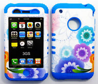 HYBRID Hard Soft Case Colorful Flowers Dark Blue Cover for Apple iPhone 3 3G 3GS