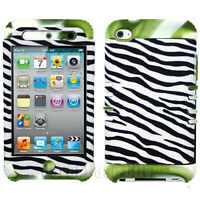 For Apple iPod Touch 4 4th Gen Hybrid Green White Cover Case Black White Zebra
