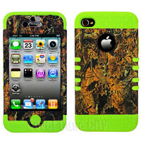 Hunter Dry Leaves Camo + Green Silicone Hybrid Cover Case for Apple iPhone 4 4S