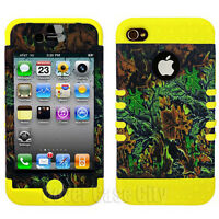 Hybrid Hard Cover for Apple iPhone 4 4S Yellow Case Hunter Green Leaves Camo