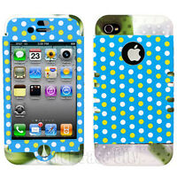 Polka Dots on Light Blue Green White Mix Hybrid Cover Case for Apple iPhone 4 4S
