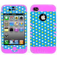 Polka Dots on Light Blue Light Pink Hybrid Hard Cover Case for Apple iPhone 4 4S
