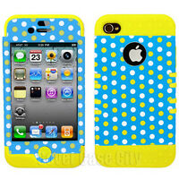 Hybrid Hard Soft Cover for Apple iPhone 4 4S Case Polka Dots Light Blue Yellow