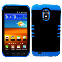For Sprint Samsung Galaxy S II S2 D710 Hybrid Black Hard Case Blue Rubber Cover