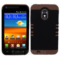 For Sprint Samsung Galaxy S II S2 D710 Hybrid Black Hard Case Brown Rubber Cover