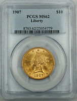 1907 Liberty $10 Eagle Gold Coin, PCGS MS-62