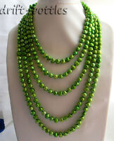 100'' 9MM Green Baroque Freshwater Pearl Necklace