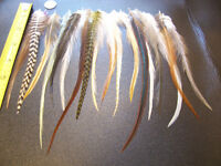 18 WHITING GRIZZLY AND NAT ROOSTER FEATHERS FOR HAIR EXTENSIONS JEWELRY CRAFT
