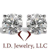 1.03CT Round Cut Diamond Stud Earrings H SI1  14K