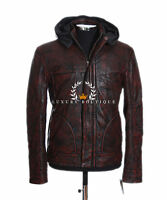 Ghost Protocol Mission Impossible Antique Brown Men's Hooded Real Leather Jacket