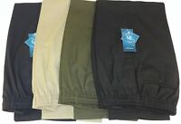 Mens Fully Elasticated Waist Rugby Trousers Black Blue Green Beige Size 32 50