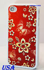 FOR IPHONE 4 4S RED BUTTERFLY AND FLORAL FLOWERS HARD CASE  + SCREEN PROTECTOR