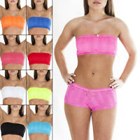 New Womens Ladies French Lace Sexy Boobtube Padded Bra Bandeau Top Size S M L XL