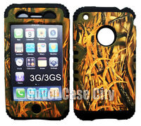 For Apple iPhone 3G 3GS Soft Black Case 2 in 1 Hard Cover Hunter Dry Leaves Camo