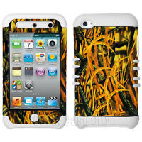 Dry Grass Camo Cover + Hybrid White Rubber Case for Apple iPod Touch 4 Accessory