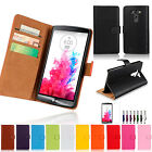 Genuine Real Leather Wallet Case Cover for New LG G4 & G3