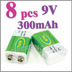 8 x 9V 300mAh Ni-MH Rechargeable Battery Batterie GTL