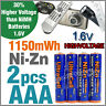 2 x 1150mWh AAA NiZn 1.6V Volt Rechargeable Battery 3A LR03 HR03 Ultracell Blue