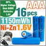 16 pcs 1150mWh AAA NiZn 1.6V Volt Rechargeable Battery 3A LR03 HR03 Blue