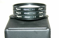 A SET OF THREE REGENT 49mm CLOSE UP FILTERS and CASE. +1, +2, +4 (MADE IN JAPAN)