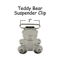 "100 Suspender Paci Pacifier Holder Mitten Clips - Teddy Bear 1"" w/ Inserts"