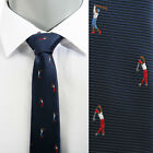 VoiVoila Men's New Navy Golf Embroidery Slim Woven Stylish Dandy Dress Neckties