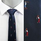 VoiVoila Men's New Navy Golf Embroidery Slim Woven Stylish Dandy Dress Neckties